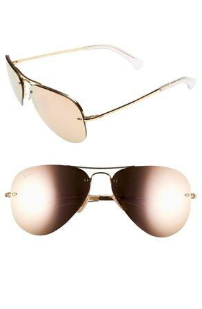 Ray-Ban Highstreet 59mm Semi Rimless Aviator Sunglasses | Nordstrom