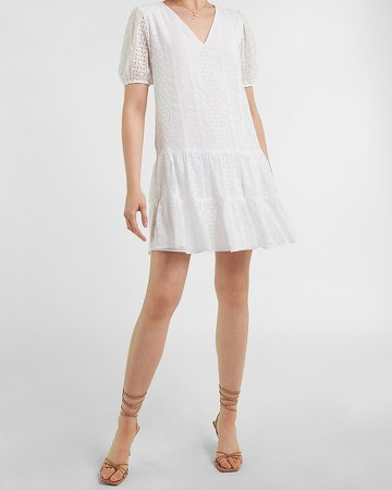 Eyelet Lace Tiered Trapeze Dress
