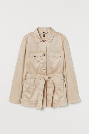 Tie-belt Jacket - Beige/faux suede - Ladies | H&M US