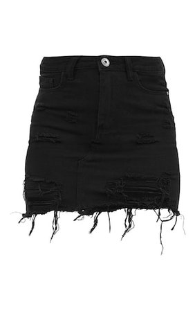 Black Distressed Rip Denim Mini Skirt
