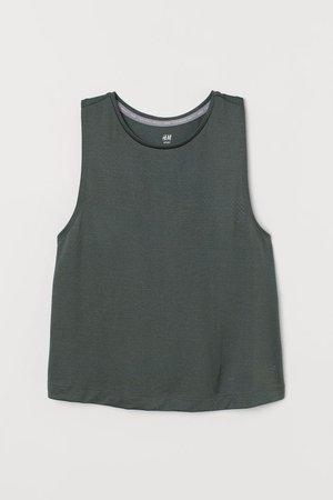 Textured Sports Tank Top - Dark green - Ladies | H&M US