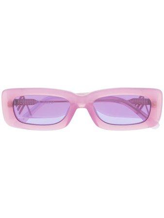 The Attico logo-plaque rectangle-frame sunglasses purple ATTICO16C2SUN - Farfetch