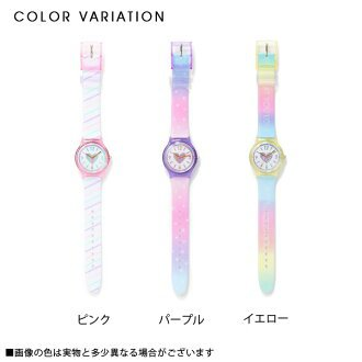 dreamv: Watch pastel color watch print heart pink purple yellow F lady's dream fine-view 0731 ◆ 08/06 shipment plan which a hologram belt has a cute shiningly | Rakuten Global Market