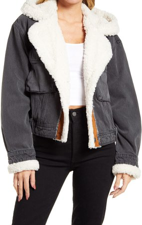 Perry Hooded Denim Jacket with Faux Shearling Trim