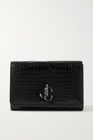Varenne Croc-effect Leather Clutch - Black