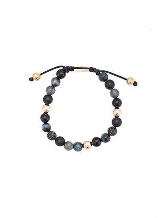 Nialaya Jewelry Agate, Onyx, Black Jade, Blue Tiger Eye and Black CZ beaded bracelet