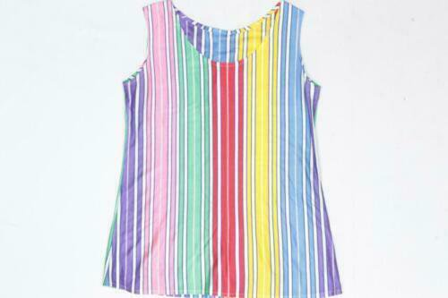 Vintage Rainbow Striped Polyester Disco Pop Top Blouse Tank Top T Shirt | eBay
