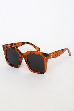 The I-Sea Waverly - Oversized Sunglasses - Tan Tortoise Sunnies - Lulus