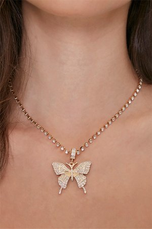 Rhinestone Butterfly Pendant Necklace | Forever 21