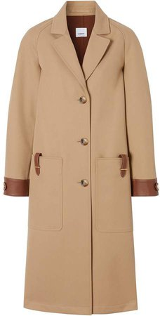 leather-trimmed coat