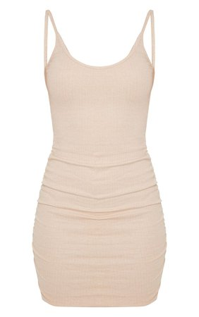 Stone Rib Scoop Neck Strappy Ruched Bodycon Dress | PrettyLittleThing USA