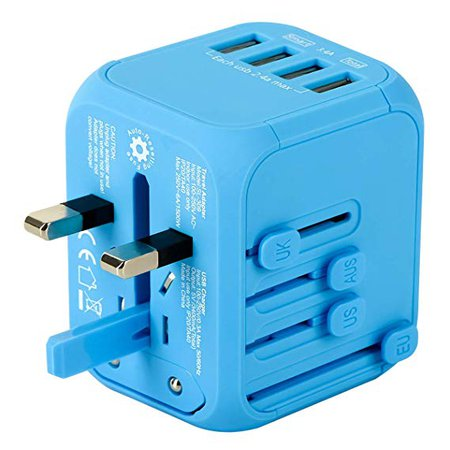 Amazon.com: Upgraded Universal Travel Adapter, Castries All-in-one Worldwide Travel Charger Travel Socket, International Power Adapter with 4 USB Ports, AC Plug for Over 150 Countries, Travel Accessories, Blue: Gateway