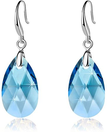 Swarovski Crystal Teardrop Dangle Hook Earrings for Women 14K Gold Plated Hypoallergenic Jewelry (Aquamarine)