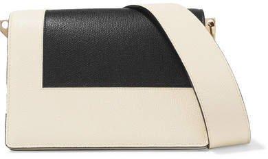 Swing Color-blocked Textured-leather Shoulder Bag - Black