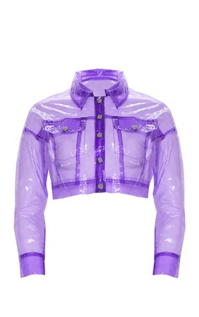 Hot Pink Transparent Crop Jacket | PrettyLittleThing USA