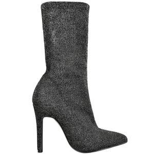 HATTIE BLACK GLITTER LUREX SOCK BOOTS – Envy Shoes UK