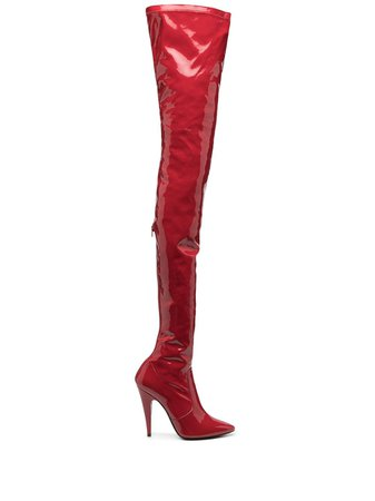 Shop red Saint Laurent Aylah 110mm boots with Express Delivery - Farfetch