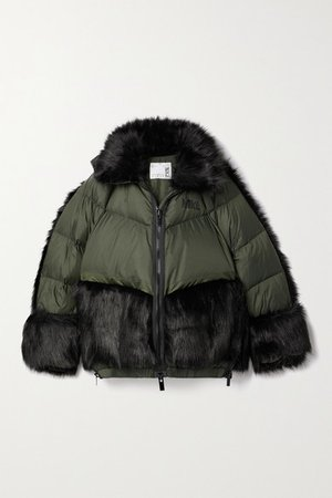 Sacai Nrg Oversized Hooded Faux Fur And Quilted Shell Down Jacket - Army green