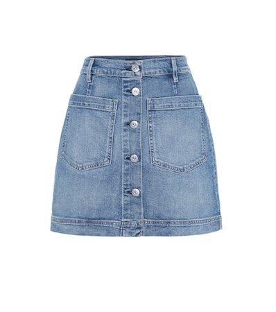 Rose high-rise denim miniskirt