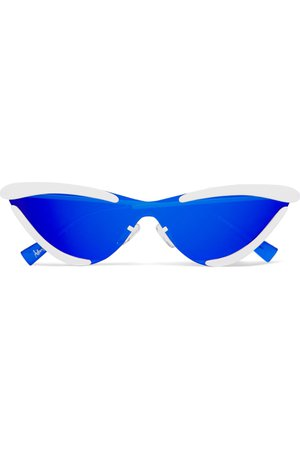 Royal blue + Adam Selman The Scandal cat-eye metal mirrored sunglasses | Le Specs | NET-A-PORTER
