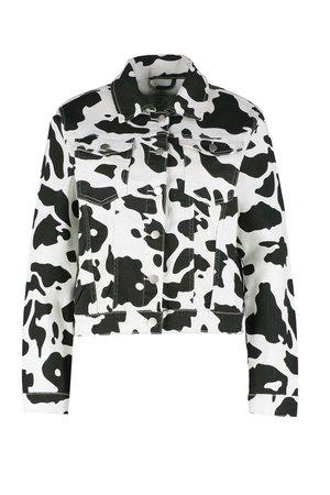 Cow Print Cropped Denim Jacket DZZ21724 CDMEEGJ [CDMEEGJ] - $36.65