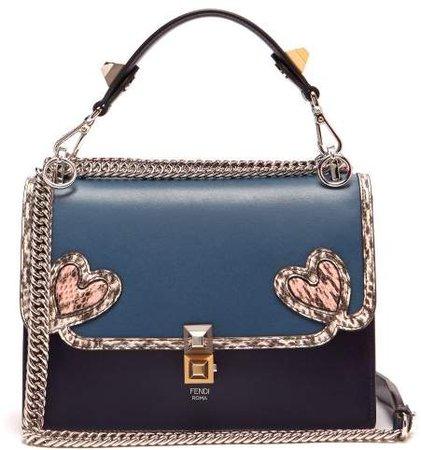 Kan I Heart Detail Leather Shoulder Bag - Womens - Blue Multi