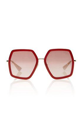 Gucci Sunglasses Hexagon-Frame Metal Sunglasses