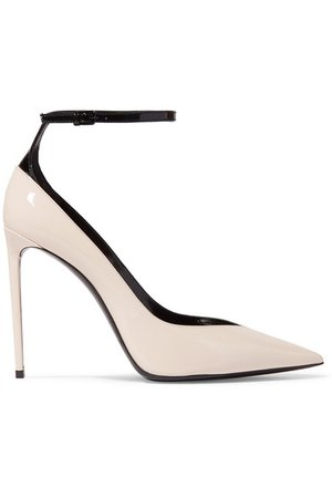 SAINT LAURENT | Zoe two-tone patent-leather pumps | NET-A-PORTER.COM