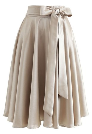 Chic Wish Flare Hem Bowknot Waist Midi Skirt in Gold - Retro, Indie and Unique Fashion