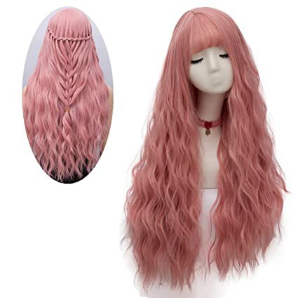 netgo Women's Pink Wig Long Fluffy Curly Wavy Hair Wigs for Girl Heat Friendly Synthetic Cosplay Party Wigs: Beauty