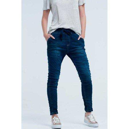 Boyfriend Jeans | Shop Women's Blue Relaxed Fit Elastic Waist Boyfriend Jeans at Fashiontage | 35828110-37135