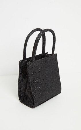 Black Glitter Rectangle Mini Tote Bag | PrettyLittleThing USA