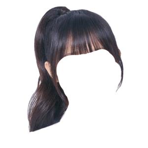 black hair png bangs ponytail