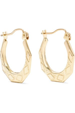 Loren Stewart | Party Deco embossed 14-karat gold hoops | NET-A-PORTER.COM