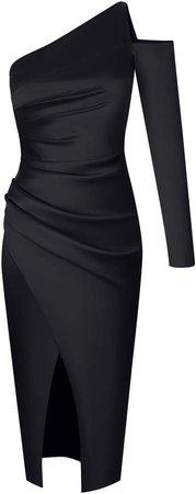 Asymmetrical Draped Satin Midi Dress