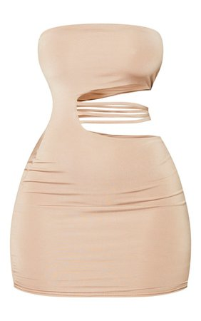 Shape Stone Slinky Bandeau Cut Out Bodycon Dress   PrettyLittleThing