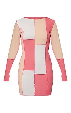 Pink Patchwork Stitch Long Sleeve Bodycon Dress   PrettyLittleThing USA