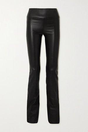 Leather Flared Leggings - Black