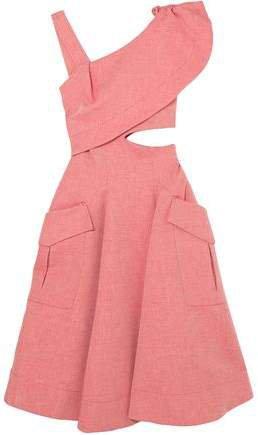 Cutout Ruffled Cotton-blend Twill Midi Dress