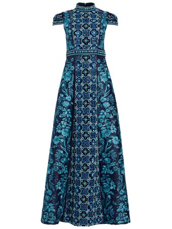NIDIA MOCK NECK EMBROIDERED GOWN | Alice + Olivia