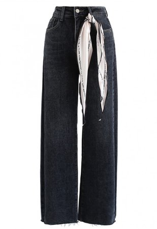 Black Wide-Leg Jeans with Silky Scarf - BOTTOMS - Retro, Indie and Unique Fashion