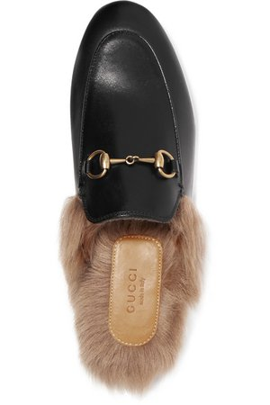 Gucci   Princetown horsebit-detailed shearling-lined leather slippers   NET-A-PORTER.COM