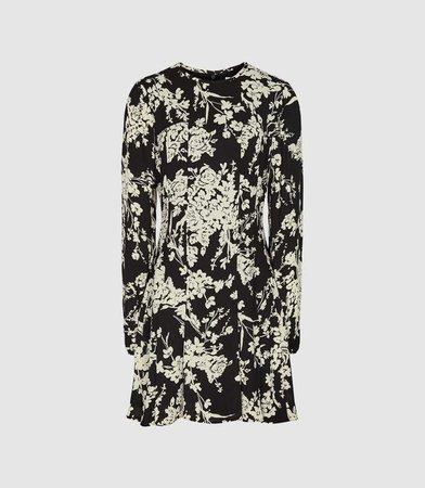 Gabriella Black Floral Printed Mini Dress – REISS