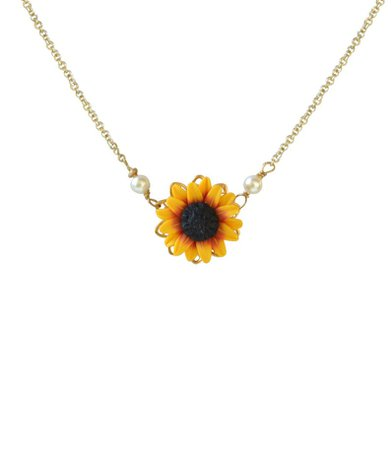 ORIGINAL Red Yellow Sunflower Pendant Necklace. Red Yellow   Etsy