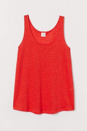 Linen Tank Top - Red