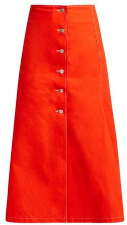 A.W.A.K.E. Mode A.w.a.k.e. Mode - Buttoned Cotton Skirt - Womens - Red