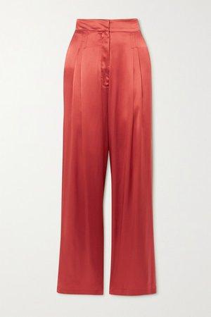 Sansha Silk-satin Wide-leg Pants - Papaya
