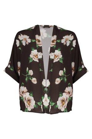 Floral Print Kimono   boohoo