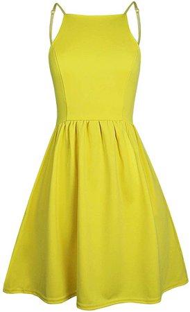 Amazon.com: FANCYINN Women's Yellow Short Dress Spaghetti Strap Backless Mini Skate Homecoming Dresses Yellow S: Clothing