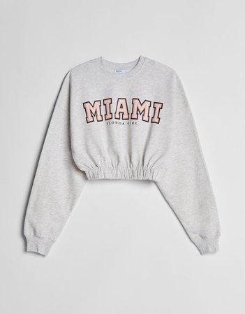 Grey Printed sweatshirt with elastic detail - Sweatshirts and Hoodies - Woman | Bershka